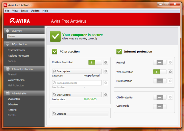 Screen short of Avira Free Antivirus 2017 15.0.30.29