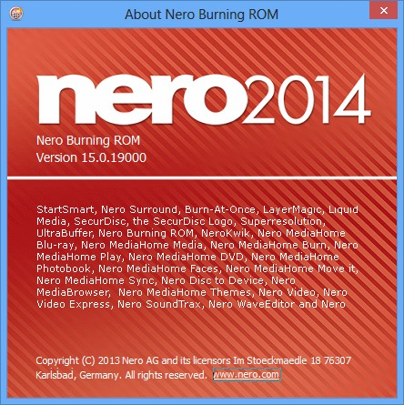 Screen short of Nero Burning ROM 2018