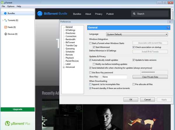 Screen short of uTorrent 3.5.0 Build 44090