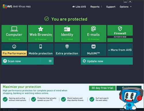 Screen short of AVG AntiVirus Free 2017 17.1.3006