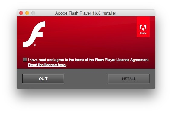 Screen short of Adobe Flash Player 26